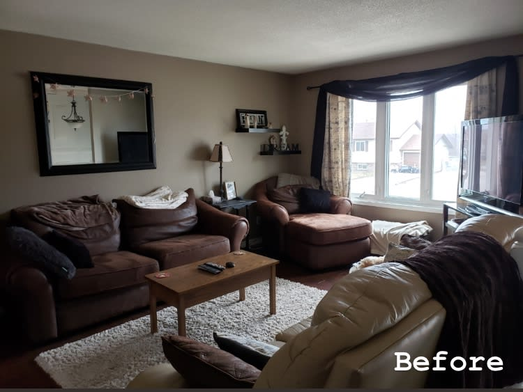 before staging a living room in the muskokas